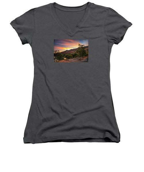 Sunrise At Woodhead Park Women's V-Neck T-Shirt (Junior Cut) by Robert Bales