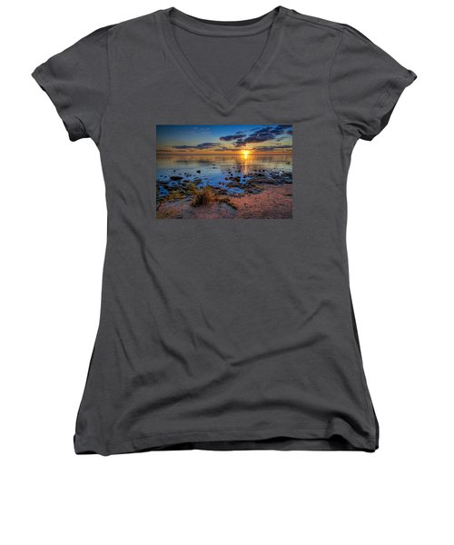 Sunrise Over Lake Michigan Women's V-Neck T-Shirt (Junior Cut) by Scott Norris