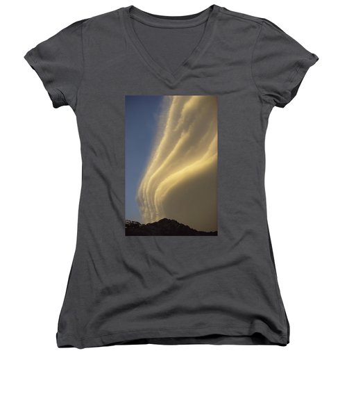 Sunset On Storm Clouds Near Mt Cook Women's V-Neck T-Shirt (Junior Cut) by Ian Whitehouse