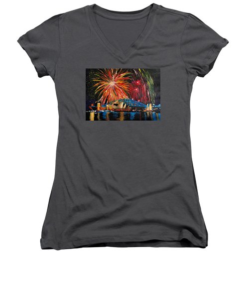 Sydney Silvester Fireworks At New Year Women's V-Neck T-Shirt (Junior Cut) by M Bleichner