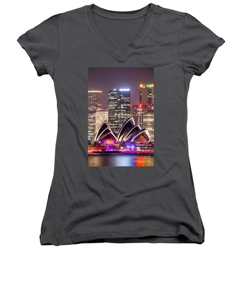 Sydney Skyline At Night With Opera House - Australia Women's V-Neck T-Shirt (Junior Cut) by Matteo Colombo