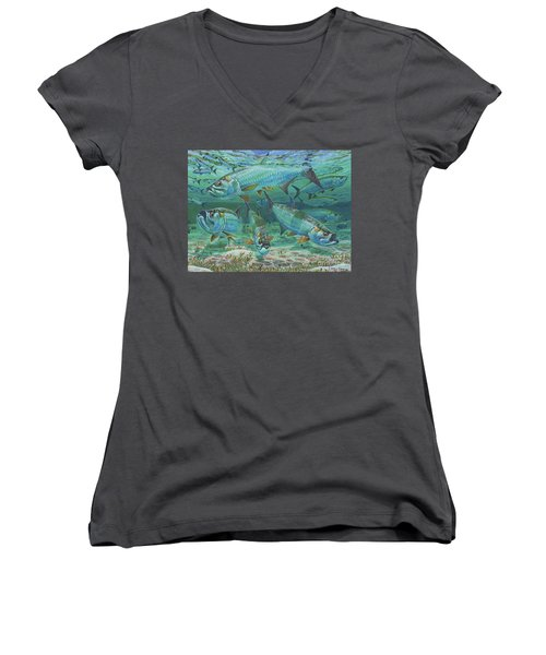 Tarpon Rolling In0025 Women's V-Neck T-Shirt (Junior Cut) by Carey Chen