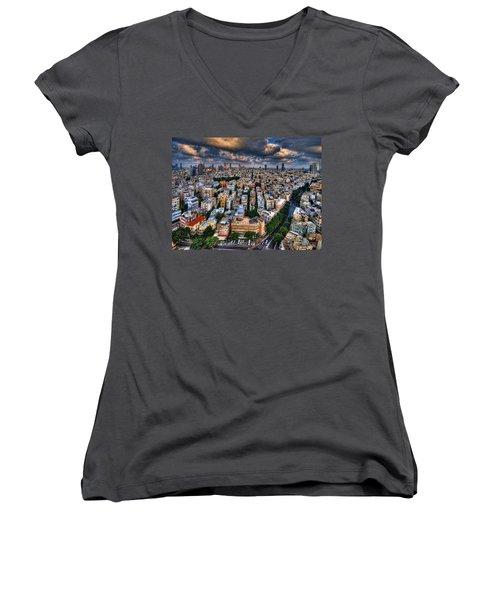 Tel Aviv Lookout Women's V-Neck T-Shirt (Junior Cut) by Ron Shoshani