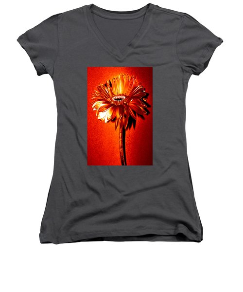 Tequila Sunrise Zinnia Women's V-Neck T-Shirt (Junior Cut) by Sherry Allen