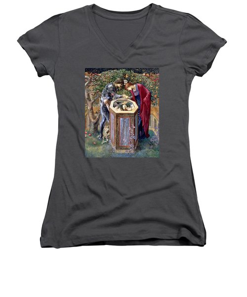 The Baleful Head, C.1876 Women's V-Neck T-Shirt (Junior Cut) by Sir Edward Coley Burne-Jones