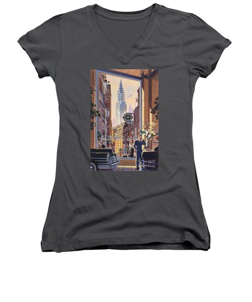 The Chrysler Women's V-Neck T-Shirt (Junior Cut) by Michael Young