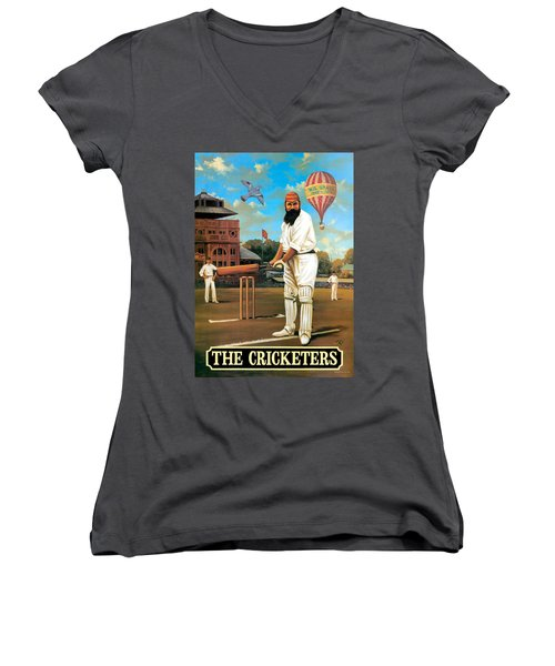 The Cricketers Women's V-Neck T-Shirt (Junior Cut) by Peter Green