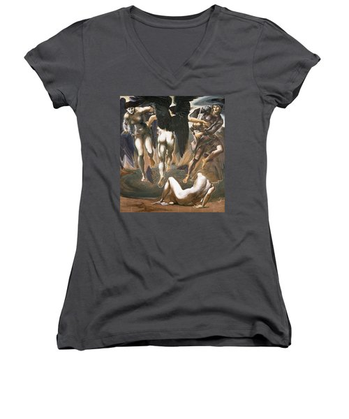 The Death Of Medusa II, 1882 Women's V-Neck T-Shirt (Junior Cut) by Sir Edward Coley Burne-Jones