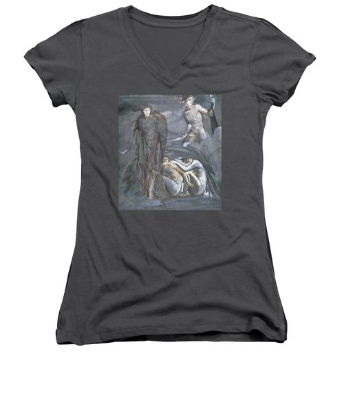 The Finding Of Medusa, C.1876 Women's V-Neck T-Shirt (Junior Cut) by Sir Edward Coley Burne-Jones