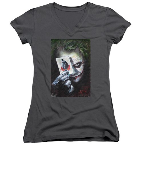 The Joker Heath Ledger  Women's V-Neck T-Shirt (Junior Cut) by Viola El