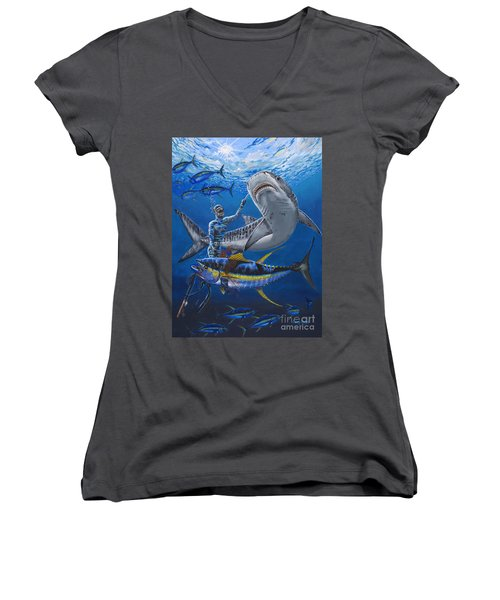 Tiger Encounter Women's V-Neck T-Shirt (Junior Cut) by Carey Chen