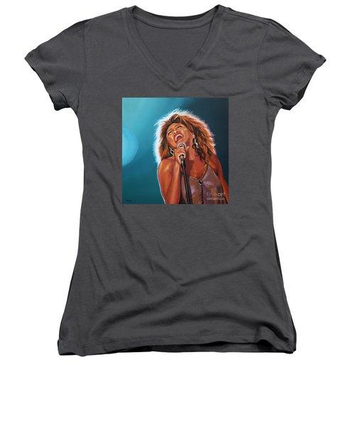 Tina Turner 3 Women's V-Neck T-Shirt (Junior Cut) by Paul Meijering