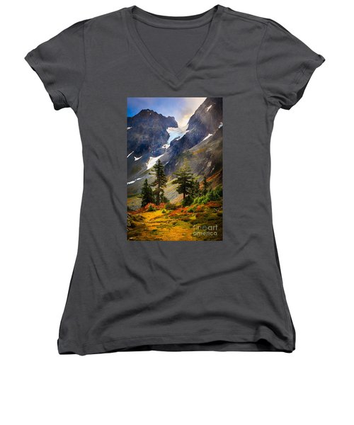 Top Of Cascade Pass Women's V-Neck T-Shirt (Junior Cut) by Inge Johnsson