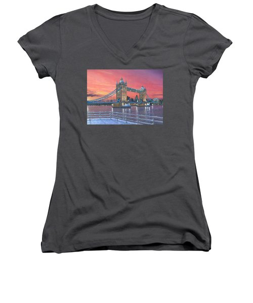 Tower Bridge After The Snow Women's V-Neck T-Shirt (Junior Cut) by Richard Harpum