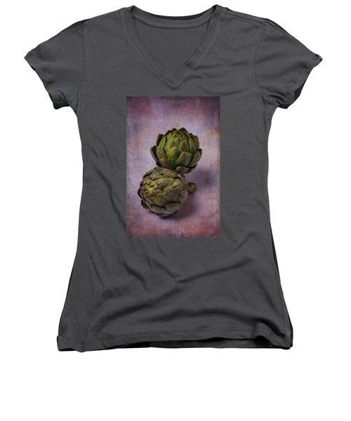 Two Artichokes Women's V-Neck T-Shirt (Junior Cut) by Garry Gay