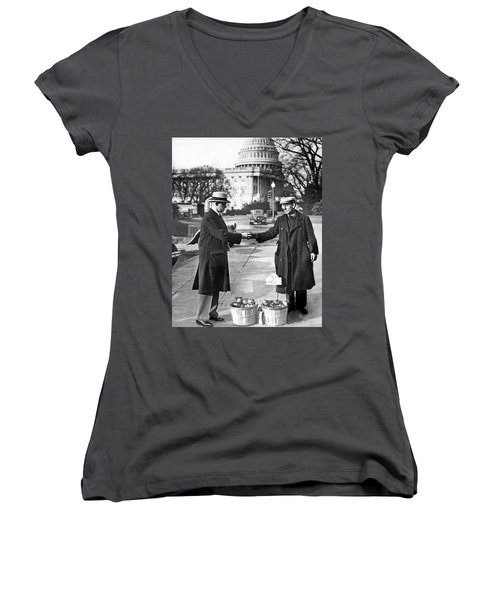 Unemployed Man Sells Apples Women's V-Neck T-Shirt (Junior Cut) by Underwood Archives