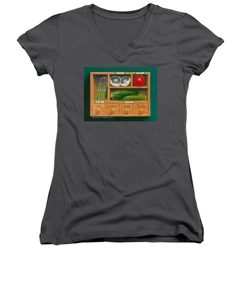 Vegetable Shelf Women's V-Neck T-Shirt (Junior Cut) by Brian James