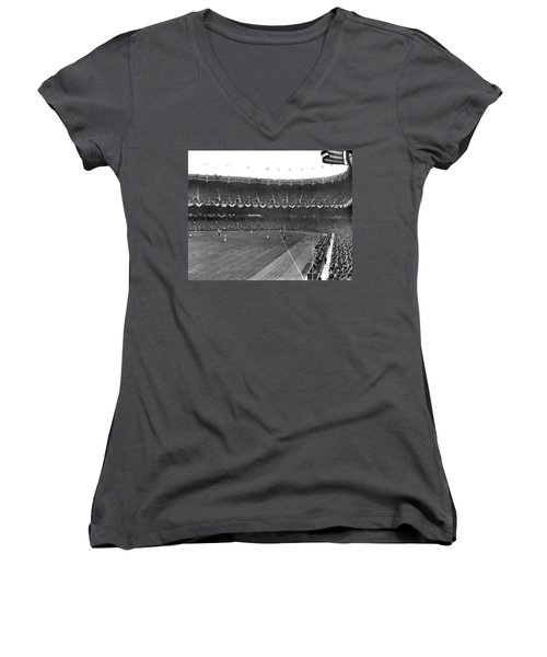 View Of Yankee Stadium Women's V-Neck T-Shirt (Junior Cut) by Underwood Archives
