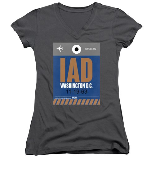 Washington D.c. Airport Poster 4 Women's V-Neck T-Shirt (Junior Cut) by Naxart Studio