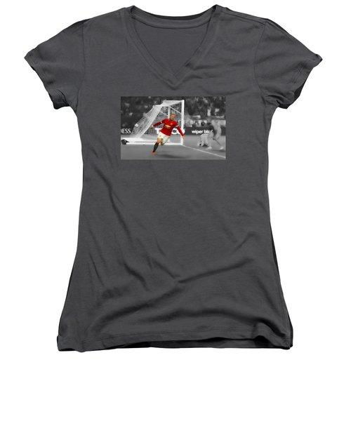 Wayne Rooney Scores Again Women's V-Neck T-Shirt (Junior Cut) by Brian Reaves