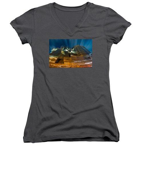 Weisman Art Museum Women's V-Neck T-Shirt (Junior Cut) by Mark Goodman