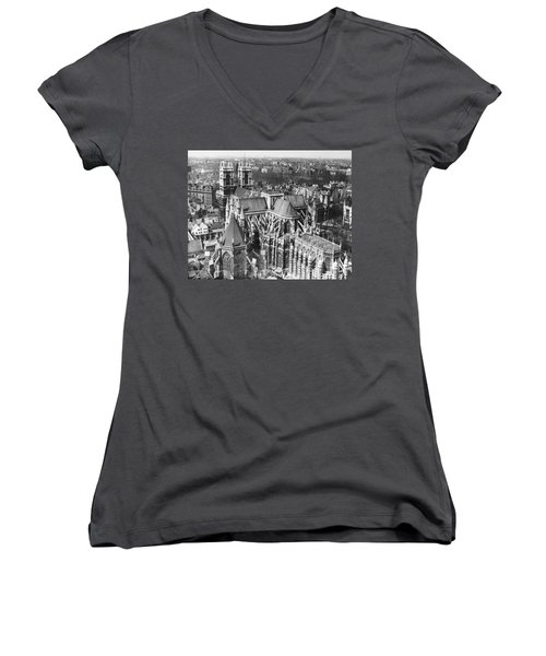 Westminster Abbey In London Women's V-Neck T-Shirt (Junior Cut) by Underwood Archives