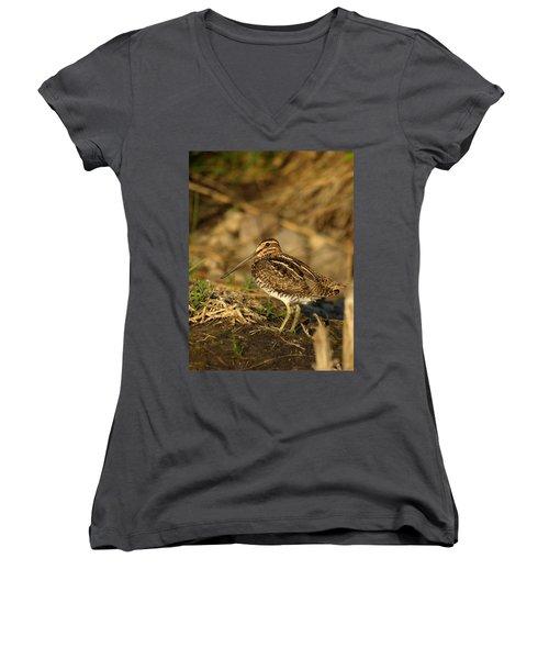 Wilson's Snipe Women's V-Neck T-Shirt (Junior Cut) by James Peterson