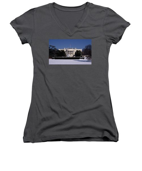 Winter White House  Women's V-Neck T-Shirt (Junior Cut) by Skip Willits