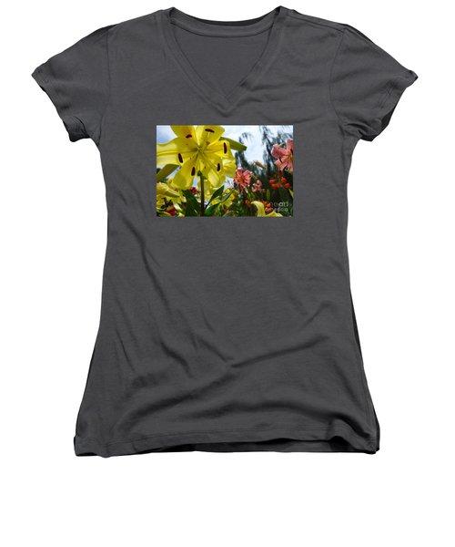 Yellow Whopper Lily 1 Women's V-Neck T-Shirt (Junior Cut) by Jacqueline Athmann