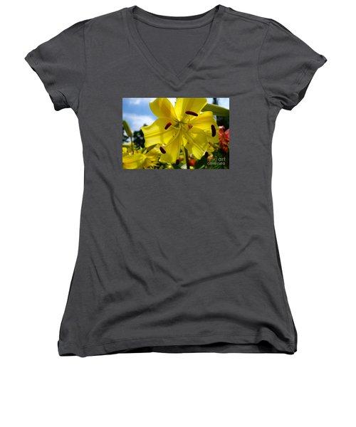 Yellow Whopper Lily 2 Women's V-Neck T-Shirt (Junior Cut) by Jacqueline Athmann