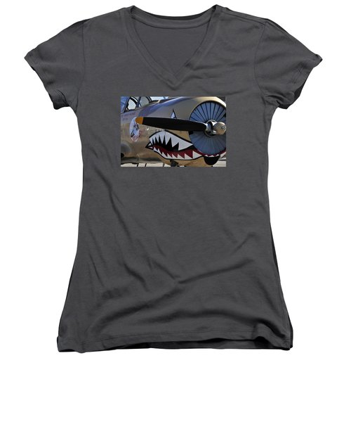 Mean Machine Women's V-Neck T-Shirt (Junior Cut) by David Lee Thompson