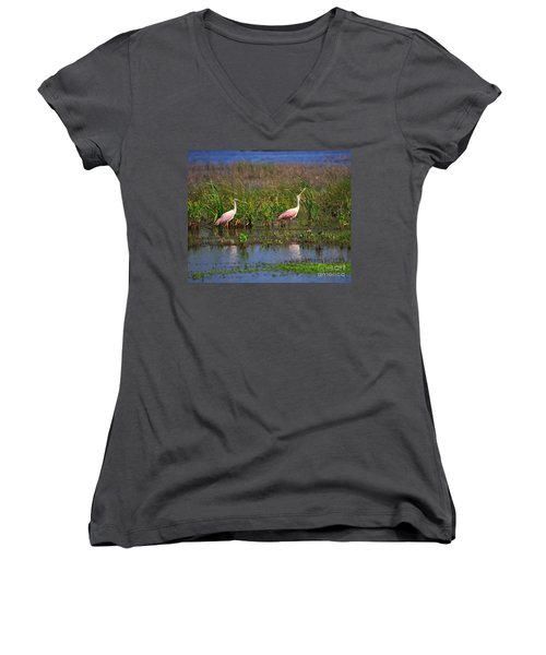 Roseate Spoonbills Women's V-Neck T-Shirt (Junior Cut) by Louise Heusinkveld