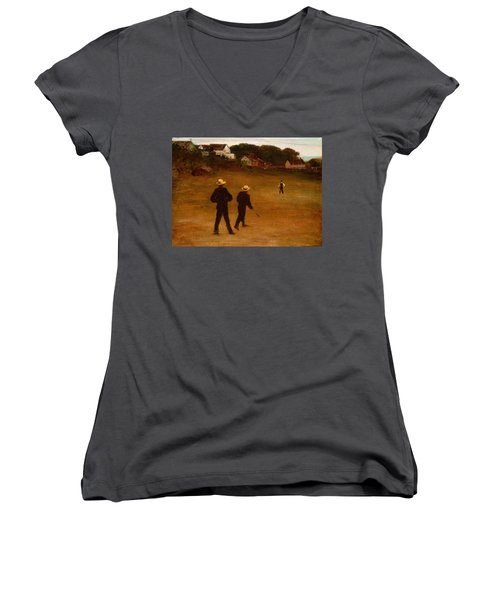 The Ball Players Women's V-Neck T-Shirt (Junior Cut) by William Morris Hunt