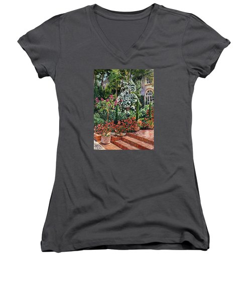 A Garden Approach Women's V-Neck T-Shirt (Junior Cut) by David Lloyd Glover