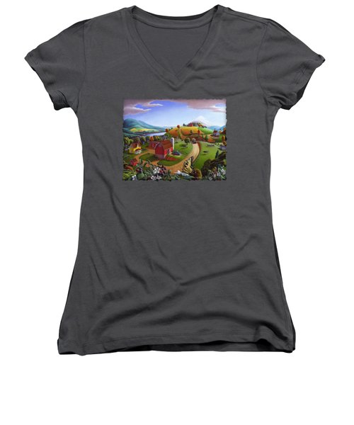 Folk Art Blackberry Patch Rural Country Farm Landscape Painting - Blackberries Rustic Americana Women's V-Neck T-Shirt (Junior Cut) by Walt Curlee