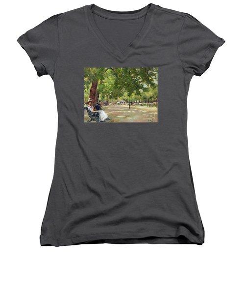 Hyde Park - London Women's V-Neck T-Shirt (Junior Cut) by Count Girolamo Pieri Nerli