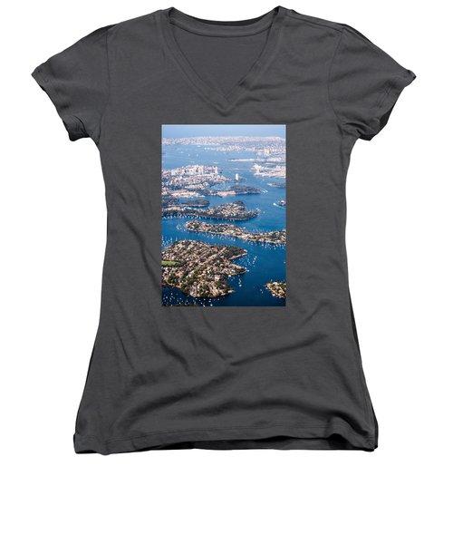 Sydney Vibes Women's V-Neck T-Shirt (Junior Cut) by Parker Cunningham