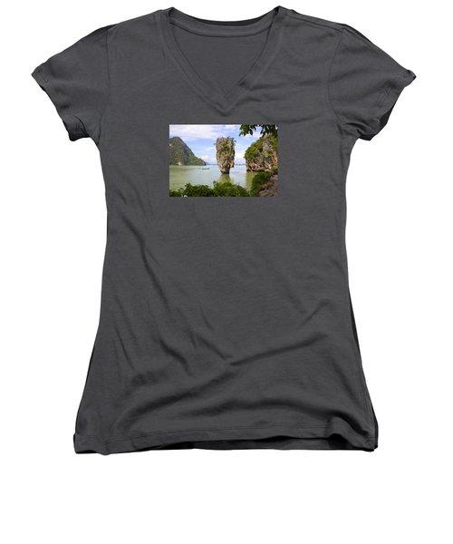 007 Island   2 Women's V-Neck T-Shirt (Junior Cut) by Mark Ashkenazi