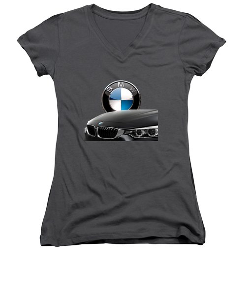 Black B M W - Front Grill Ornament And 3 D Badge On Red Women's V-Neck T-Shirt (Junior Cut) by Serge Averbukh