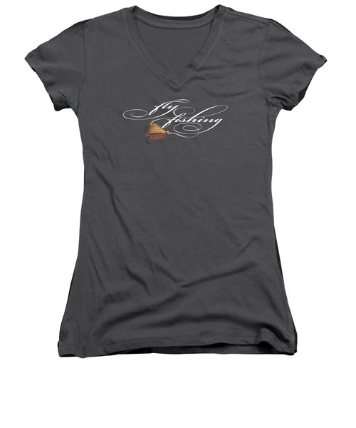 Fly Fishing Elk Hair Caddis Women's V-Neck T-Shirt (Junior Cut) by Rob Corsetti