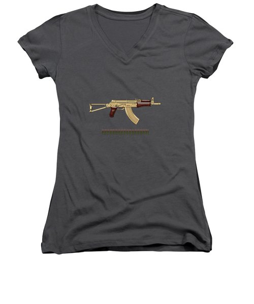 Gold A K S-74 U Assault Rifle With 5.45x39 Rounds Over Red Velvet   Women's V-Neck T-Shirt (Junior Cut) by Serge Averbukh