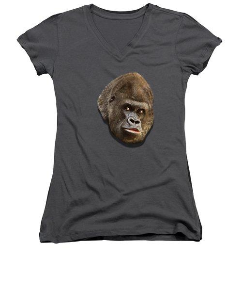 Gorilla Women's V-Neck T-Shirt (Junior Cut) by Ericamaxine Price
