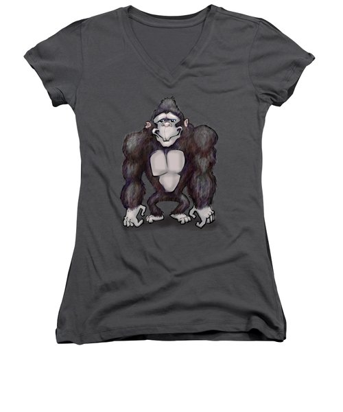 Gorilla Women's V-Neck T-Shirt (Junior Cut) by Kevin Middleton