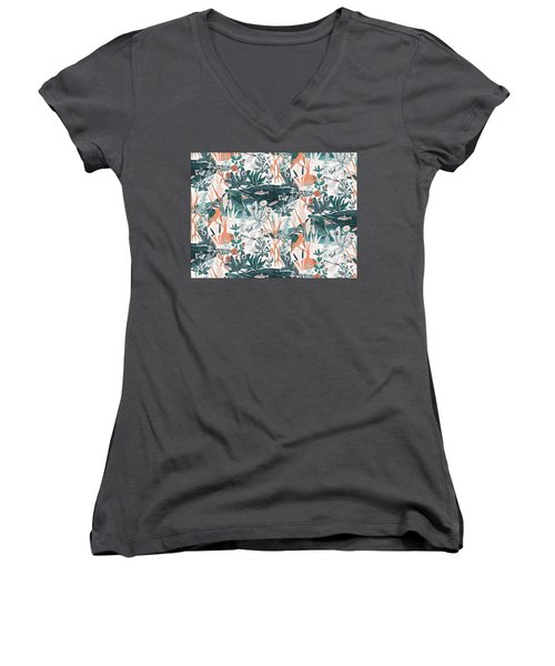 Kingfisher Women's V-Neck T-Shirt (Junior Cut) by Jacqueline Colley