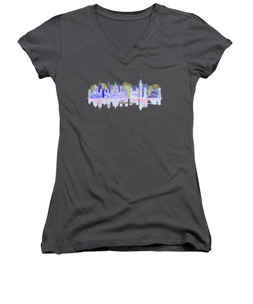 London England Skyline Women's V-Neck T-Shirt (Junior Cut) by John Groves