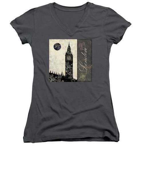 Moon Over London Women's V-Neck T-Shirt (Junior Cut) by Mindy Sommers