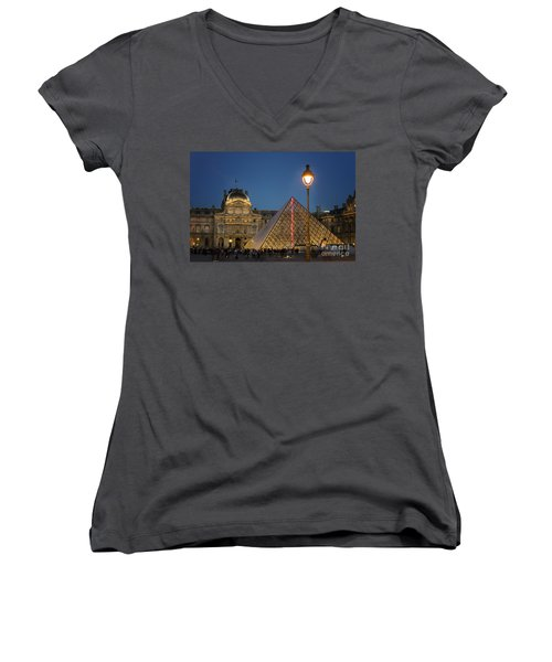 Louvre Museum At Twilight Women's V-Neck T-Shirt (Junior Cut) by Juli Scalzi