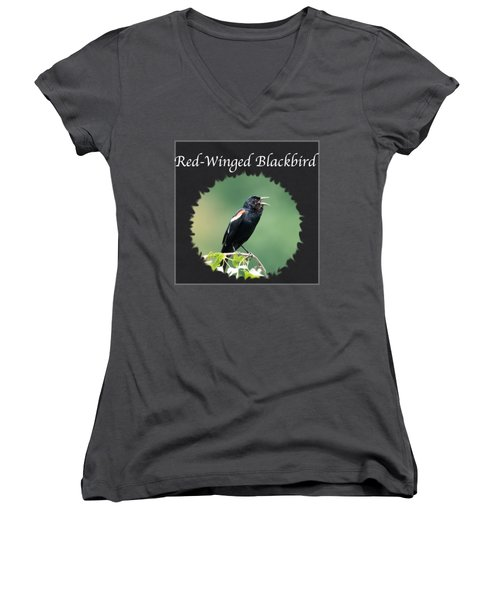 Red-winged Blackbird Women's V-Neck T-Shirt (Junior Cut) by Jan M Holden
