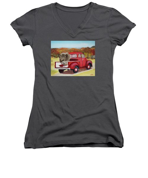 Ridin' With Razorbacks 2 Women's V-Neck T-Shirt (Junior Cut) by Belinda Nagy