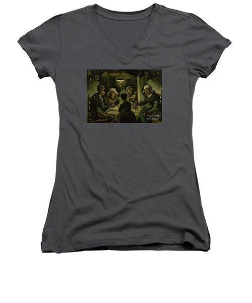 The Potato Eaters, 1885 Women's V-Neck T-Shirt (Junior Cut) by Vincent Van Gogh